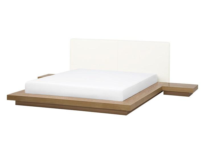 Łóżko jasne drewno 160 x 200 cm 2 stoliki nocne wysoki zagłówek styl japoński Łóżko drewniane Łóżko skórzane Kategoria Łóżka do sypialni
