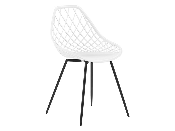 Zestaw 2 krzeseł białych tworzywo sztuczne czarne metalowe nogi styl nowoczesny skandynawski