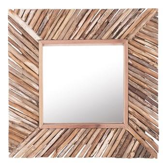 Dekoracyjne lustro ścienne jasne drewno 61 x 61 cm styl rustykalny
