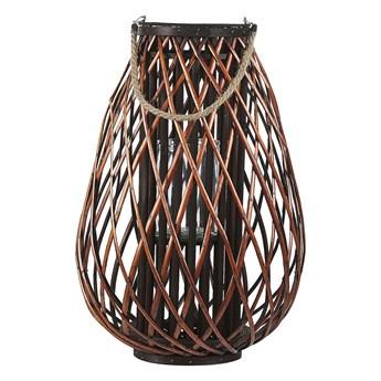 Lampion dekoracyjny brązowy drewno wierzbowe 60 cm świecznik