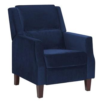 Rozkładany fotel telewizyjny niebieski tapicerownany welurem rozkładane oparcie i podnóżek retro design