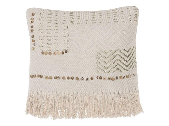 Poduszka dekoracyjna beżowa bawełniana z frędzlami 45 x 45 cm z wypełnieniem ozdobna akcesoria boho retro salon sypialnia