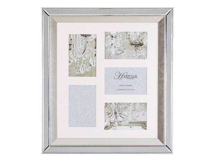 Multiramka srebrna lustrzana 49 x 44 cm na zdjęcia 5 fotografii 10 x 15 cm kolaż wisząca Pomieszczenie Salon Kategoria Ramy i ramki na zdjęcia