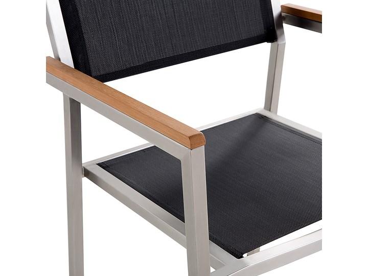 Zestaw mebli ogrodowych jadalniany czarny palony stół granit/bazalt 180 x 90 cm 6 krzeseł tekstylnych sztaplowanych Stoły z krzesłami Stal Tworzywo sztuczne Kolor Szary