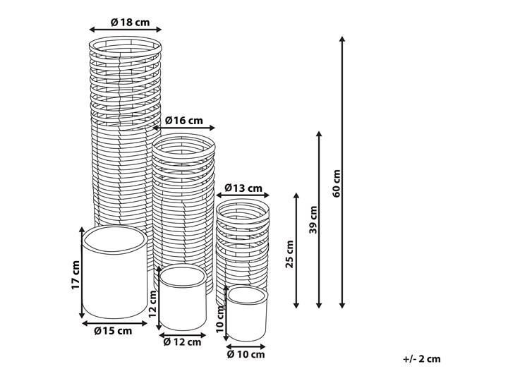 Zestaw 3 świeczników jasne drewno kwadratowe wysokie różne rozmiary boho design szklany pojemnik Szkło Żelazo Metal Kategoria Świeczniki i świece