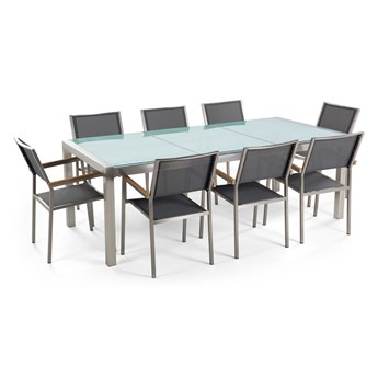 Zestaw ogrodowy stół z krzesłami blat szkło hartowane efekt tłuczonego szkła 220 x 100 cm 6 krzeseł szarych tekstylnych sztaplowanych
