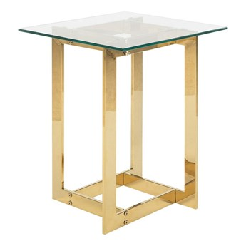 Stolik pomocniczy do salonu złoty przeźroczysty szklany blat metalowa połyskująca rama 40 x 40 x 52 cm glamour design