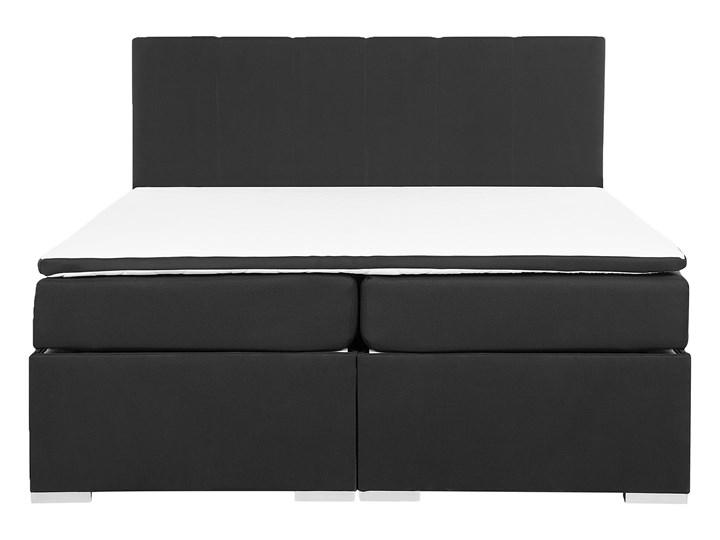 Łóżko kontynentalne z pojemnikiem i materacem czarne tapicerowane materiałem 160 x 200 cm retro design Łóżko tapicerowane Kolor Czarny Kategoria Łóżka do sypialni