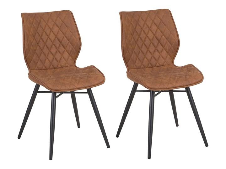 Zestaw 2 krzeseł brązowych tapicerowanych z metalowymi czarnymi nogami do jadalni styl nowoczesny industrialny Tworzywo sztuczne Pomieszczenie Jadalnia Pikowane Tapicerowane Tkanina Wysokość 86 cm Drewno Głębokość 56 cm Szerokość 44 cm Styl Vintage