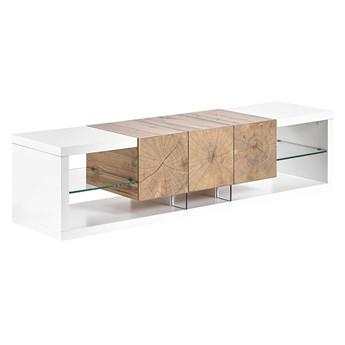 Szafka RTV pod telewizor komoda 160 cm szuflada półki biały jasne drewno szkło płyta MDF styl nowoczesny