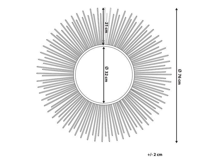 Lustro wiszące ścienne srebrne 80 cm okrągłe metalowe promienie słońca Lustro z ramą Pomieszczenie Przedpokój Kolor Srebrny