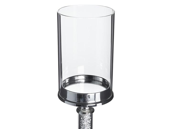 Świecznik srebrny metalowy ze szklanym kloszem wysoki lampion na nóżce 48 cm elegancka dekoracja stołu komody ozdoba styl glamour Szkło Kategoria Świeczniki i świece