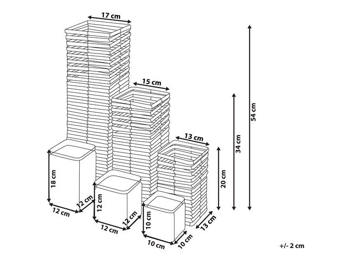 Zestaw 3 świeczników białe drewniane kwadratowe wysokie różne rozmiary boho design szklany pojemnik Drewno Szkło Metal Żelazo Kolor Biały