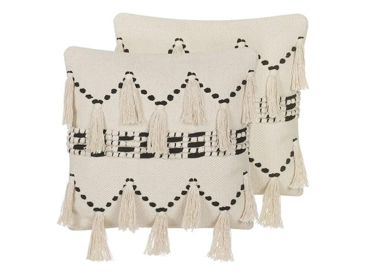 Poduszka dekoracyjna beżowa bawełniana z frędzlami 45 x 45 cm retro z wypełnieniem ozdobna akcesoria salon sypialnia