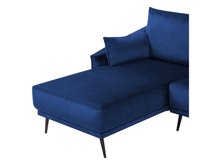 Narożnik prawostronny niebieski welurowy kolorowy LED 3-osobowy 2 poduszki dekoracyjne styl nowoczesny W kształcie L Kolor Granatowy