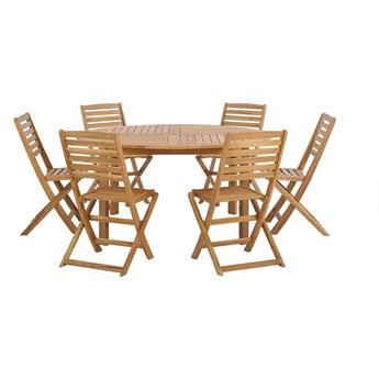 Zestaw ogrodowy stół z 6 krzesłami jasne drewno akacjowe okrągły stół i składane krzesła