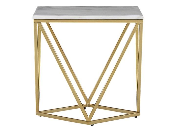 Stolik kawowy biały kwadratowy blat złota metalowa rama 50 x 50 cm efekt marmuru Zestaw stolików Kształt blatu Kwadratowe Płyta MDF Styl Vintage