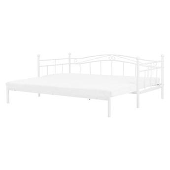 Łóżko białe metalowe 80/160 x 200 cm ze stelażem wysuwane dodatkowe łóżko nowoczesne