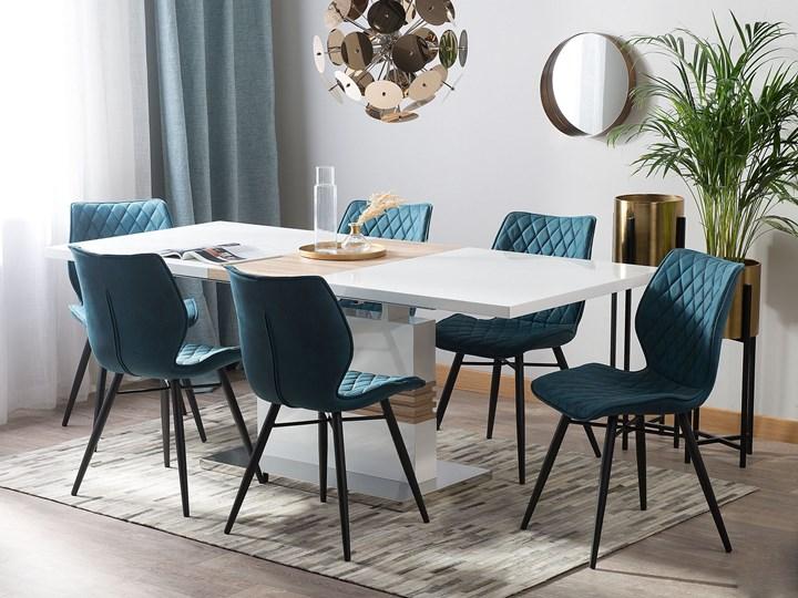 Stół do jadalni biały jasne drewno rozkładany prostokątny 160 - 200 x 90 cm na nodze nowoczesny design Płyta MDF Długość 200 cm  Pomieszczenie Stoły do jadalni