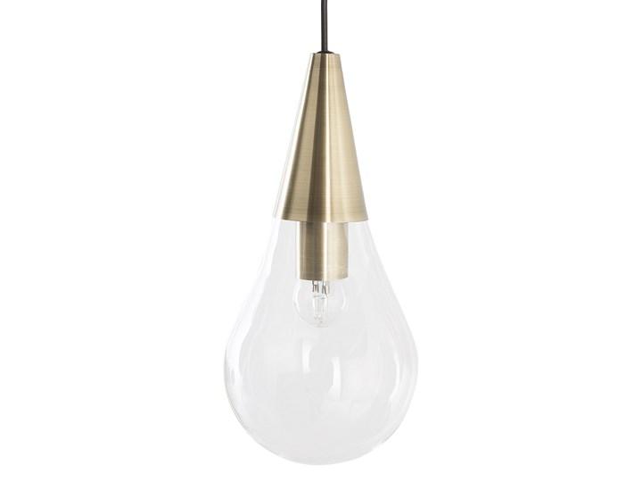 Lampa sufitowa przezroczysta szklana 118 cm miedziany akcent 3 klosze kształt kropli nowoczesna Żarówka na kablu Szkło Metal Kolor Złoty