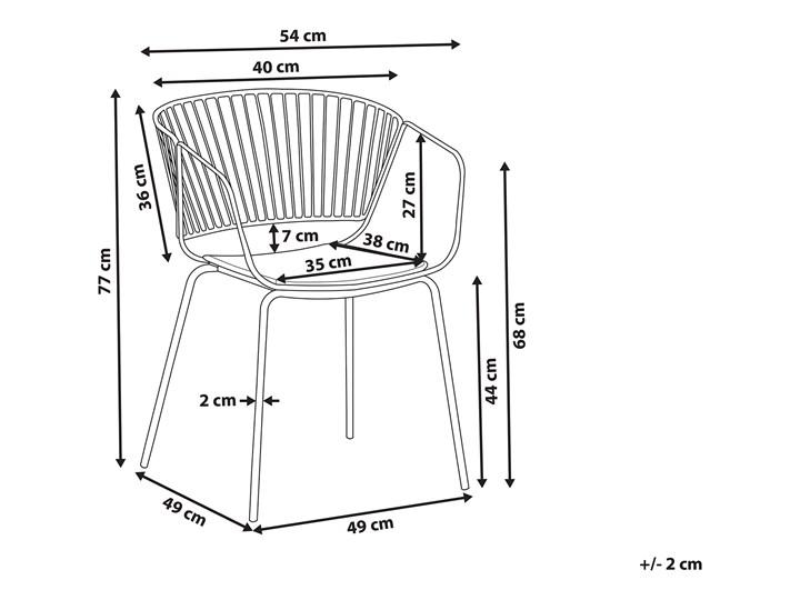 Zestaw 2 krzeseł miedzianych metalowych z czarnymi poduszkami na siedzisko z ekoskóry styl nowoczesny Skóra ekologiczna Skóra Wysokość 77 cm Szerokość 54 cm Styl Industrialny Tworzywo sztuczne Głębokość 49 cm Pomieszczenie Salon