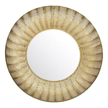 Lustro ścienne złote metalowa rama okrągłe 77 cm wiszące dekoracyjne styl glamour do salonu sypialni przedpokoju