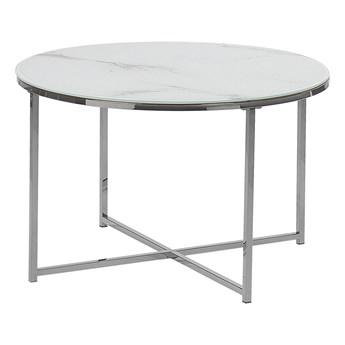Stolik kawowy okrągły efekt marmuru biały srebrna baza 70 cm styl glam nowoczesny minimalistyczny