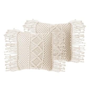 Poduszki dekoracyjne beżowe bawełniane makrama plecione 40 x 45 cm z wypełnieniem zestaw dwóch akcesoria salon sypialnia