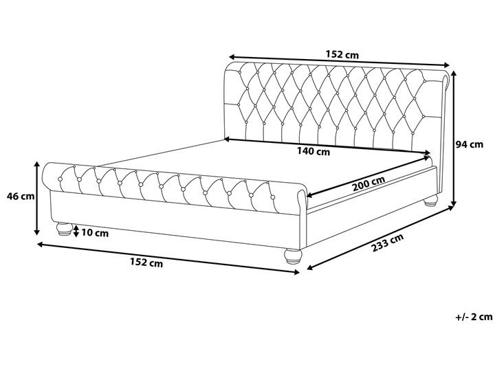 Łóżko ze stelażem szare welurowe 140 x 200 cm z zagłówkiem pikowane styl glamour Łóżko tapicerowane Kolor Szary Kategoria Łóżka do sypialni