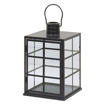 Lampion czarny metalowy 27 cm przeszklony świecznik styl skandynawski Beliani