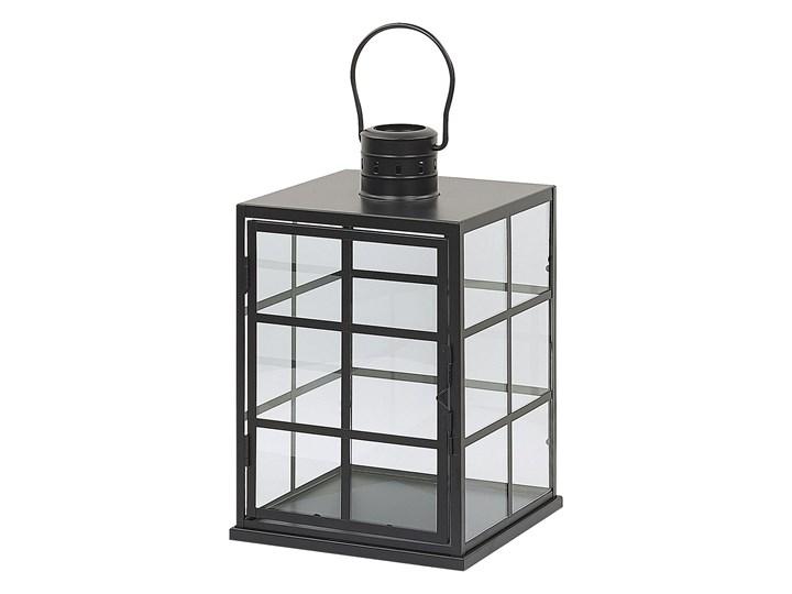 Lampion czarny metalowy 27 cm przeszklony świecznik styl skandynawski Kategoria Świeczniki i świece