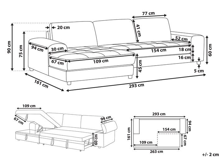 Narożnik rozkładany jasnoszary sofa narożna do salonu kanapa z funkcją spania z pojemnikiem skandynawska W kształcie L Boki Z bokami