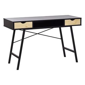 Biurko do biura domowego czarne z jasnym drewnem metalowa rama 120 x 48 cm przechowywanie 2 szuflady 1 półka blat z tworzywa