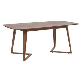 Stół do jadalni ciemne drewno oklejony orzechem MDF drewno kauczukowe stabilna baza salon