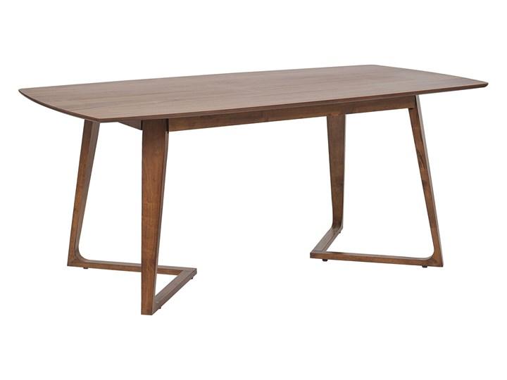 Stół do jadalni ciemne drewno oklejony orzechem MDF drewno kauczukowe stabilna baza salon Płyta MDF Pomieszczenie Stoły do salonu