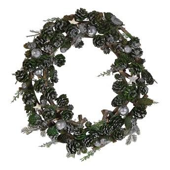 Wieniec świąteczny zielono-srebrny drewniany plastikowy szyszki okrągły 50 cm tradycyjny wygląd
