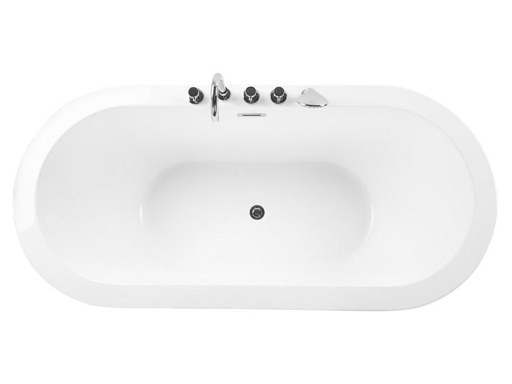 Wanna wolnostojąca biała akrylowa 170 x 80 cm system przelewowy z armaturą owalna minimalistyczny design Wolnostojące Kolor Biały
