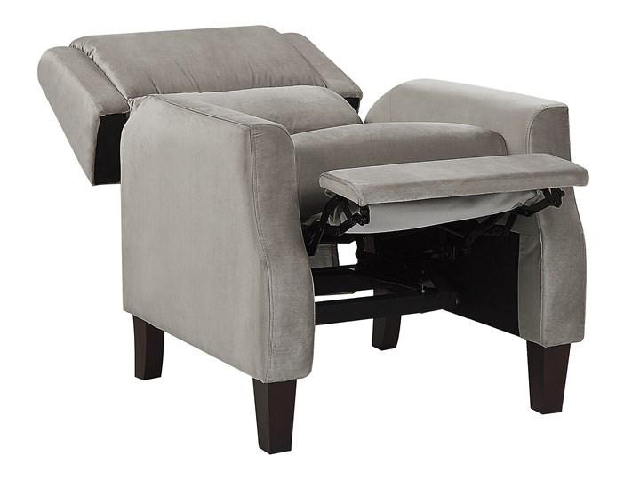 Rozkładany fotel telewizyjny szary tapicerownany welurem rozkładane oparcie i podnóżek retro design Fotel rozkładany Tworzywo sztuczne Fotel inspirowany Tkanina Drewno Styl Vintage
