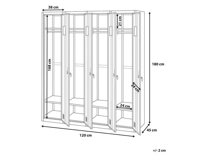 Szafa ubraniowa biała metalowa 120 x 45 x 180 cm 4 drzwi na kluczyk z półkami i drążkiem Uniwersalne Kolor Biały Pomieszczenie Biuro i pracownia