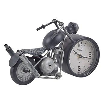 Zegar stojący dekoracyjny czarno-srebrny metalowy w kształcie motoru na stół biurko vintage