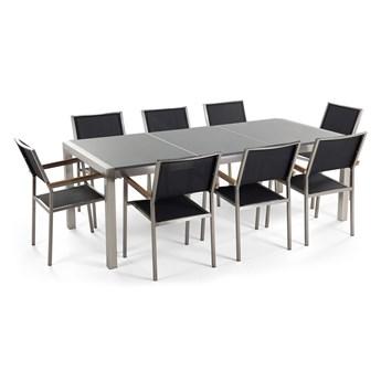 Zestaw mebli ogrodowych jadalniany szary stół granitowy polerowany 220 x 100 cm 8 krzeseł czarnych tekstylnych sztaplowanych