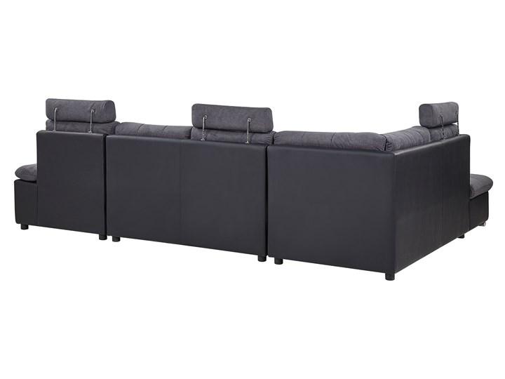 Narożnik rozkładany szary tapicerowany 5-osobowy z pojemnikiem regulowane zagłówki sofa kształt U W kształcie litery U Nóżki Bez nóżek