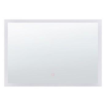 Lustro ścienne wiszące LED srebrne 60 X 80 cm łazienka