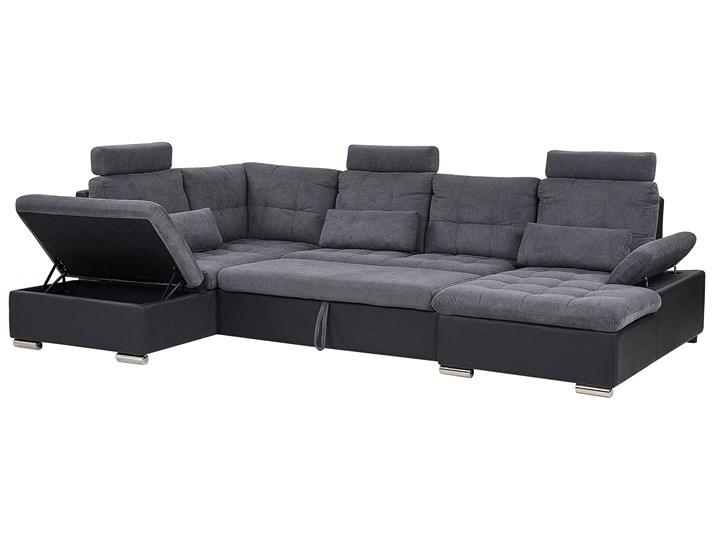 Narożnik rozkładany szary tapicerowany 5-osobowy z pojemnikiem regulowane zagłówki sofa kształt U W kształcie litery U Funkcje Z pojemnikiem na pościel