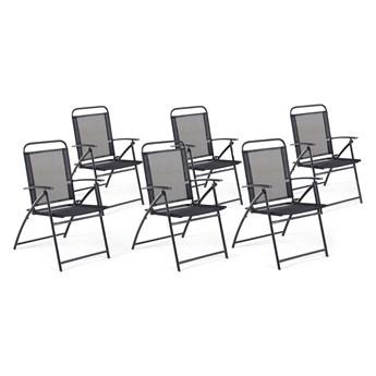 Zestaw krzeseł ogrodowych czarny metalowe materiałowe siedzenie składane styl industrialny balkon taras