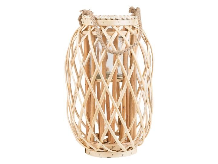 Lampion dekoracyjny jasne drewno 40 cm ozdoba latarenka na świeczkę MAURITIUS Szkło Kategoria Świeczniki i świece