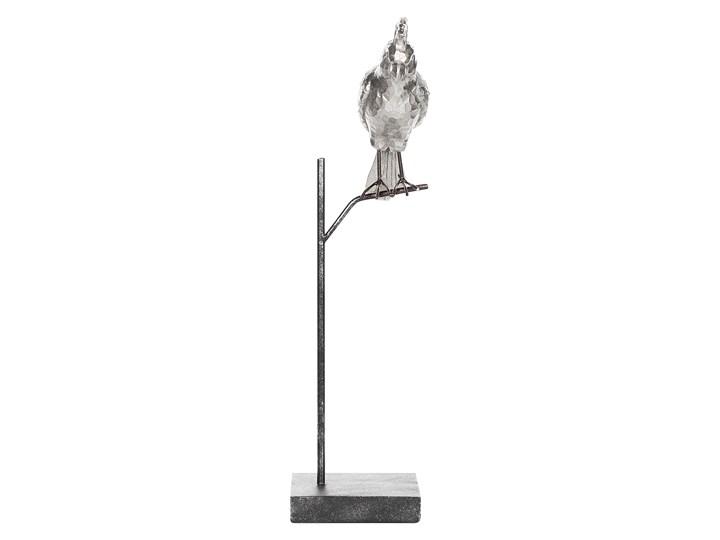 Figurka dekoracyjna srebrna z czarnym w kształcie papugi z podstawką 50 cm nowoczesny wygląd Ptaki Kolor Srebrny