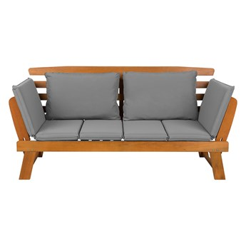 Sofa ogrodowa jasna drewnana 2-osobowa szare poduchy regulowane podłokietniki