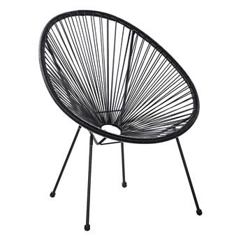 Krzesło fotel balkonowy czarne technorattan balkon taras ogród okrągły papasan