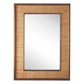 Lustro ścienne jasne drewno prostokątna rama 54 x 74 cm ręcznie wykonana plecionka boho